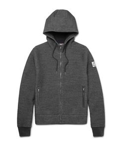 Moncler Gamme Bleu | Elbow-Patch Mélange Cotton-Blend Zip-Up Hoodie