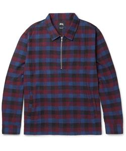 Stüssy | Sim-Fit Checked Cotton Haf-Zip Overshirt Bue