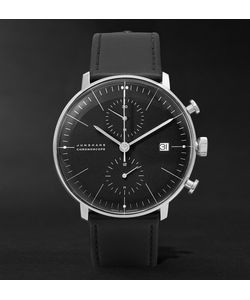 Junghans | Max Bill Stainless Steel And Leather Chronoscope Watch