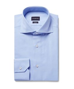 Ermenegildo Zegna | Slim-Fit Cutaway-Collar Puppytooth Cotton Shirt