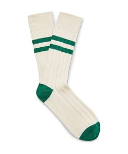 The Workers Club | Varsity-Striped Combed Cotton-Blend Socks