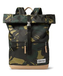Eastpak | Macnee Leather-Trimmed Camouflage-Print Canvas Backpack