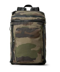 Moncler | Yannick Leather-Trimmed Camouflage-Print Cotton-Ripstop Backpack