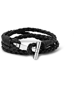 Tom Ford | Woven Leather And Palladium-Plated Wrap Bracelet