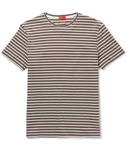 Isaia   Slim-Fit Striped Cotton-Jersey T-Shirt