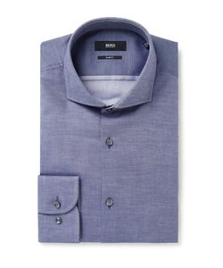 HUGO BOSS | Jerrin Slim-Fit Cutaway-Collar Cotton-Jacquard Shirt