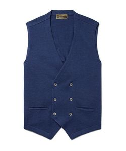 Cordings | Double-Breasted Knitted Virgin Wool Waistcoat