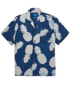 Beams   Aloha Camp-Collar Pineapple-Print Voile Shirt