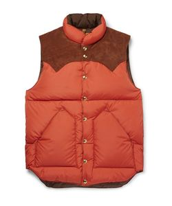 Rocky Mountain Featherbed | Suede-Trimmed Quilted Nylon Down Gilet
