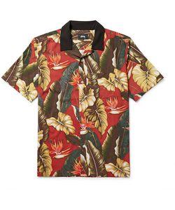 Stüssy | Camp-Collar Printed Matte-Satin Shirt