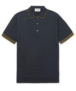 John Smedley | Nailsea Contrast-Tipped Merino Wool Polo Shirt Midnight