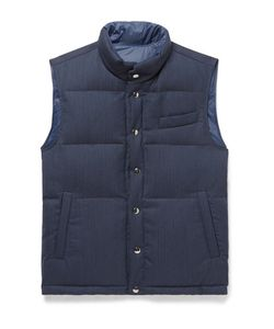 Thom Sweeney | Reversible Herringbone Wool And Quilted Shell Gilet