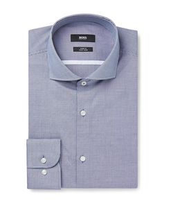 HUGO BOSS | Jerrin Slim-Fit Cutaway-Collar Micro-Gingham Cotton Shirt