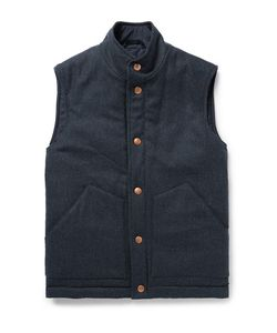 Private White V.C. | Private V.C. Herringbone Wool And Cashmere-Blend Padded Gilet