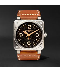 Bell & Ross | Golden Heritage 42mm Steel And Leather Watch