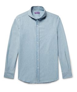 Ralph Lauren Purple | Label Slim-Fit Cutaway-Collar Cotton-Chambray Shirt
