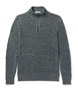 INIS MEÁIN   Inis Meáin Mélange Linen Half-Zip Sweater
