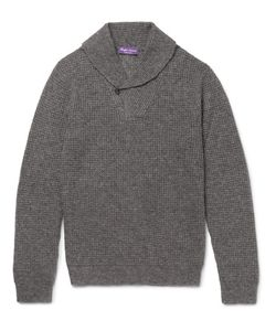 Ralph Lauren Purple | Label Shawl-Collar Waffle-Knit Cashmere And Silk-Blend Sweater