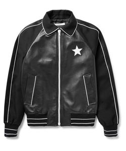 Givenchy | Satin-Trimmed Leather And Wool-Twill Bomber Jacket