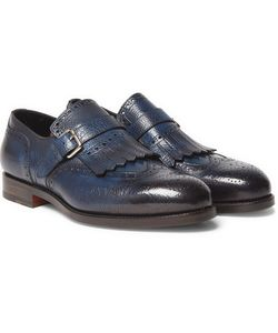 Santoni | Burnished Full-Grain Leather Loafers