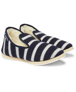 ARMOR LUX | Shearling-Lined Striped Wool Slippers