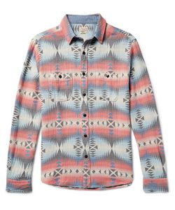 Faherty | Brushed-Cotton Jacquard Overshirt