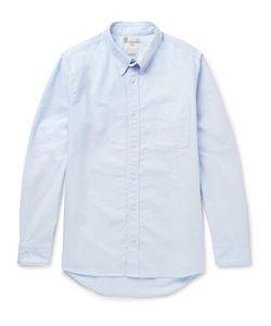 Visvim | Albacore Button-Down Collar Denim-Panelled Cotton-Oxford Shirt