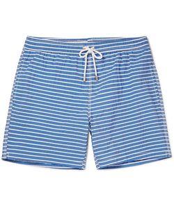 Hartford | Mid-Length Striped Cotton-Blend Swim Shorts