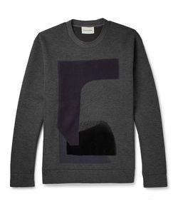 Solid Homme | Appliquéd Scuba-Jersey Sweatshirt