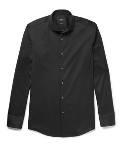 HUGO BOSS | Jason Slim-Fit Cutaway-Collar Stretch Cotton-Blend Shirt