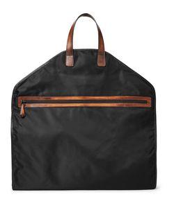 BERLUTI   Hemisphere Leather-Trimmed Nylon Garment Bag