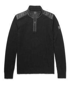 Belstaff | Kilmington Shell-Trimmed Merino Wool Half-Zip Sweater