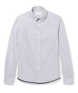 Tomorrowland | Slim-Fit Contrast-Tipped Striped Cotton-Poplin Shirt