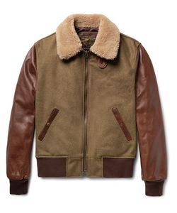Schott | Shearling-Trimmed Wool-Blend And Leather Jacket