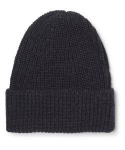 The Workers Club | Ribbed Mélange Merino Wool Beanie Midnight