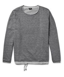 HELBERS   Linen-Trimmed Mélange Loopback Cotton-Jersey Sweatshirt