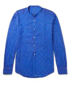 Massimo Alba   Mandarin-Collar Textured-Cotton Half-Placket Shirt