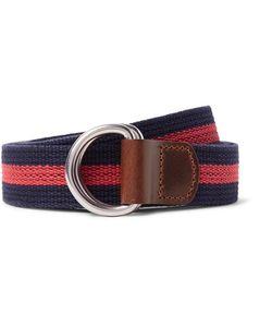 J.Crew | 3cm Burnished Leather-Trimmed Striped Cotton Belt