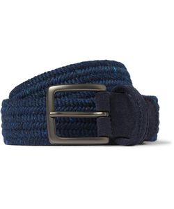 ANDERSON'S | 3.5cm Suede-Trimmed Wool Belt