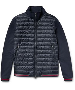 Moncler | Loopback Cotton-Jersey And Quilted Shell Down Bomber Jacket