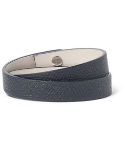 Valextra | Pebble-Grain Leather Wrap Bracelet