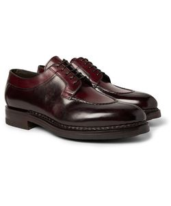 Santoni | Split-Toe Burnished-Leather Derby Shoes
