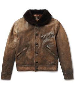 RRL | Billings Shearling-Trimmed Distressed Leather Jacket