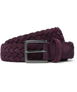 ANDERSON'S | 3cm Plum Woven Suede Belt