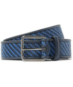 Ermenegildo Zegna | 3.5cm Pelle Tessuta Leather Belt Midnight