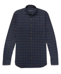 Thom Sweeney | Slim-Fit Cutaway-Collar Checked Brushed-Cotton Twill Shirt