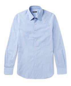 BERLUTI   Slim-Fit Cutaway-Collar Striped Cotton And Linen-Blend Shirt