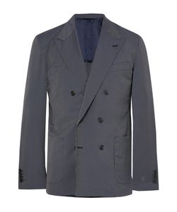 Camoshita | Slim-Fit Double-Breasted Pinstriped Wool-Blend Suit Jacket
