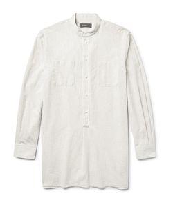 HELBERS   Grandad-Collar Striped Cotton Tunic