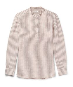 Eidos | Grandad-Collar Striped Linen Shirt